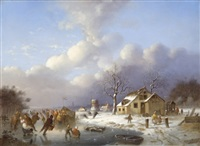 skating scene in holland by johann mongels culverhouse