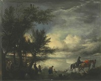 a ford with travelers by philips wouwerman