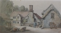 a farmyard by thomas rowlandson