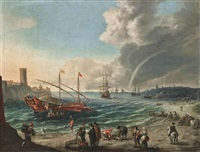 a mediterranean harbour scene with a spanish trading barge, figures on the beach and shipping beyond by cornelis de wael