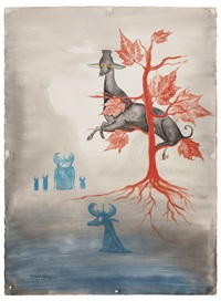 venado descansando en un árbol by leonora carrington