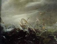 a merchantman foundering in a storm off a rocky coast by cornelis claesz van wieringen