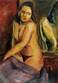 weiblicher akt vor einem spiegel by hertha lischke