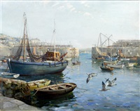 mousehole harbour entrance by vernon ward