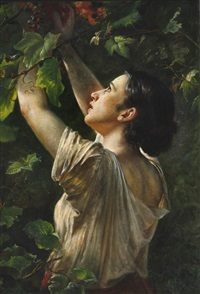 Young girl picking grapes, 1862
