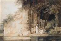 indians sheltering in a gateway by charles (sir) d'oyly