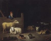 inneres eines stalls mit einem stallburschen, schafen und ziegen by hubert van ravesteyn