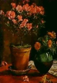 azaleenstock und ringelblumen by margarethe strasser