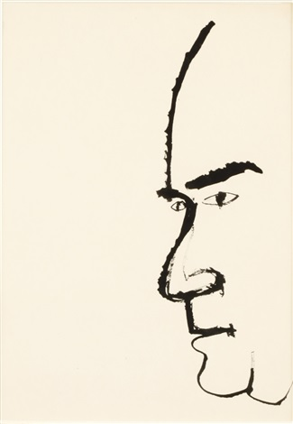 man in profile by ben shahn