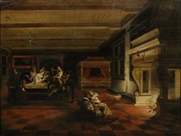 elegant figures making music and reading in a palace interior by dirck van delen
