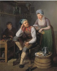a shoemaker and a cobbler at work, a lady reading a letter nearby by pieter fonteyn