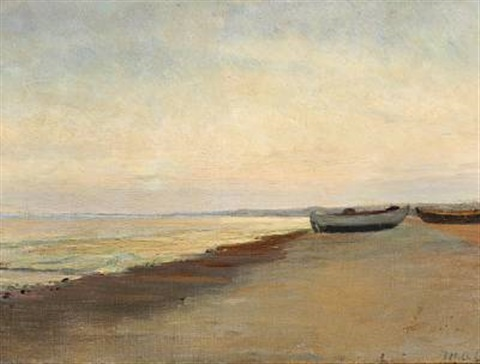 coastal view with boats on the beach skagen by michael peter ancher