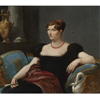 portrait of a seated lady in a black dress by henri françois riesener