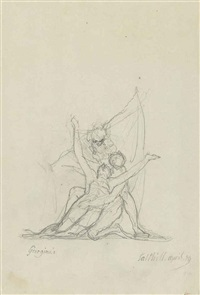 a dying figure supported by two others, perhaps from 'conrad freeing gulnare by henry fuseli