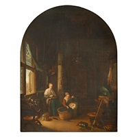 mother and children in interior by gerrit dou