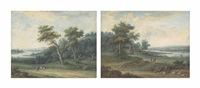 a river landscape with travellers on a road and fishermen on a river (+ a river landscape with travellers on a road; pair) by henri-joseph van blarenberghe