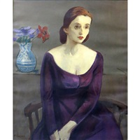 portrait of jean moldover with a vase of flowers by moses soyer