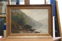 vue du lac des quatre cantons, prise des rives de brenner by gustave eugène castan