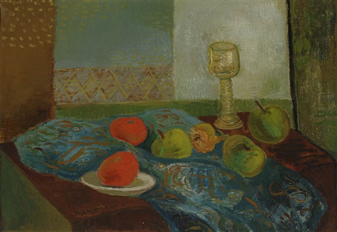 still life with fruits and a rummer by kees andrea