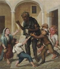 el claco de risa - un hombre en harapos rodeado de niños by josé agustín arrieta