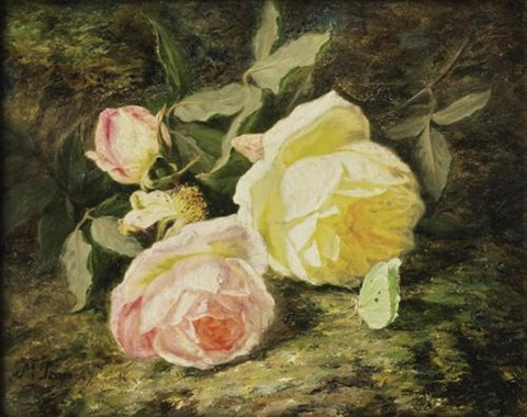 roses et papillon by simon saint jean