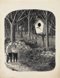 couple passing a giant bird house by charles addams