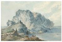 embarcations devant l'île de capri; et seconde vue de l'île de capri avec un groupe de personnages devant un grand promontoir (2 works) by claude louis châtelet