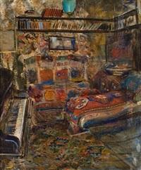 interiør med piano og divan by christian krohg