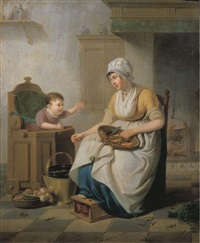 a small child in a high chair with a servant cleaning vegetables seated nearby, in a kitchen interior by pieter fonteyn