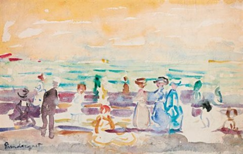 the beach and along the sea with boat and people rectoverso by maurice brazil prendergast