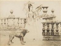 deux élégantes sur une terrasse by friedrich august von kaulbach