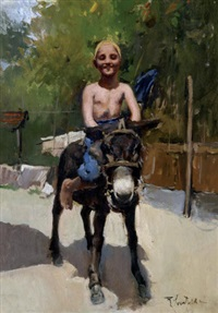 little boy riding horse by romualdo locatelli