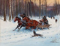 sledge driving at winter time by mieczyslaw krzyzak