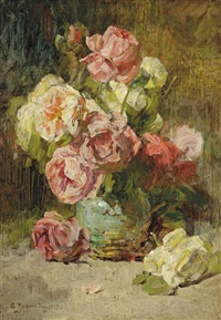 roses in a vase by georges jeannin