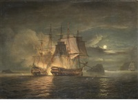 the french 74 hercule surrendering to h.m.s. mars off brest, 21st. april by thomas luny