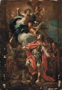christ appearing to saint george after slaying the dragon by sebastiano conca
