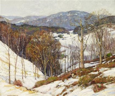 the further hills seen through a veil of evening light by george gardner symons