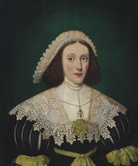 portrait of a lady, half-length, in a black dress with slashed sleeves, with a lace collar and headdress by gilbert jackson
