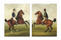 a yeomanry officer on horseback; a german hussar on horseback (pair) by john nost sartorius