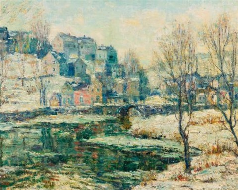 snowy day along the river by ernest lawson