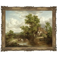 a cottage with figures and livestock by a river, surrey by richard h. hilder