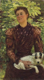 girl with a puppy by henry herbert la thangue