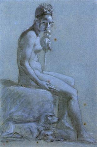 femme assise tenant une quenouille clotho la fileuse deux chiens à ses pieds by pierre paul prudhon