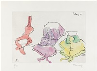subway (from 7 kupferstiche) by maria lassnig