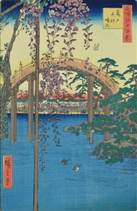 the grounds of the tenjin shrine at kameido by ando hiroshige