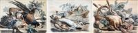 nature morte aux lièvre, homard et châtaignes (+ 4 others; 5 works) by françois frédéric grobon