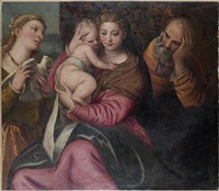 the holy family with a female martyr saint by benedetto caliari