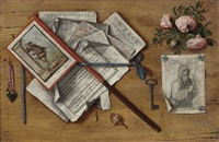 a trompe l'oeil still life with letters and other objects on a board by antonio cioci