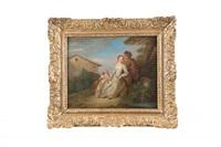 jeune couple et enfant dans un paysage by jean antoine watteau
