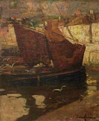 barques de pêche à voiles latines by louis azema